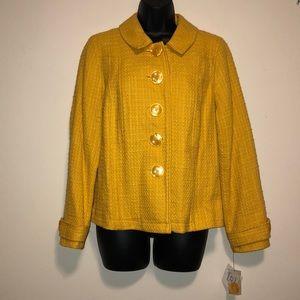 NWT Petite Mustard Yellow Tweed Blazer